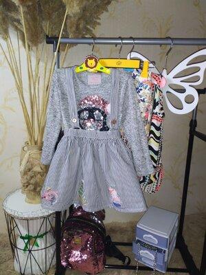 3-4 года Комплект юбка с подтяжками и джемпер с пайетками