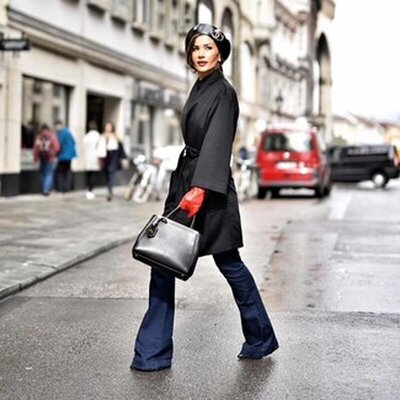 Красные кожаные перчатки с утеплителем H&M