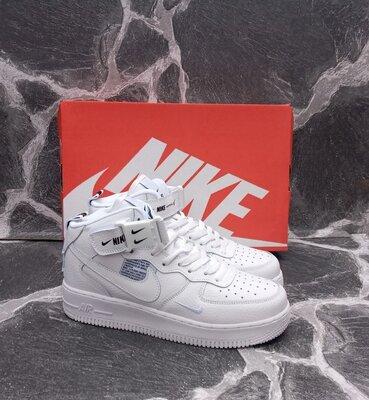 Женские кроссовки Nike Air Force кожаные, белые, высокие