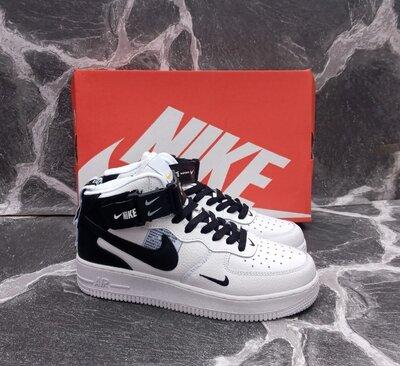 Мужские кроссовки Nike Air Force кожаные, белые, черные