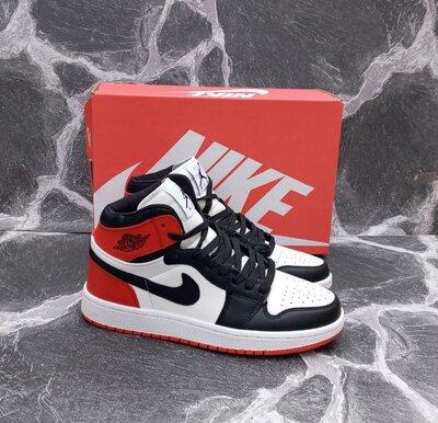 Мужские кроссовки Nike Air Jordan 1 Retro кожаные, белые, черные