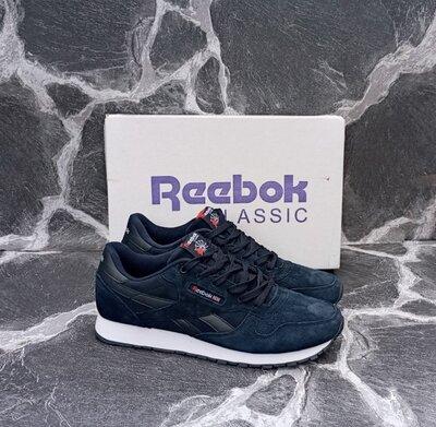 Мужские кроссовки Reebok Classic замшевые, черные. синие, серые