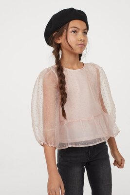 Топ кофта блузка для девочки украшеной фактурным горошками из флока т h&m oбьемные рукава длиной 3/4
