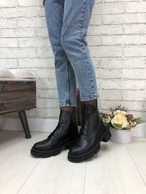 Демисезонные кожаные замшевые ботинки на шнуровке цвет черный