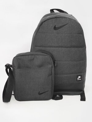 Комплект TWIX рюкзак Nike серый меланж барсетка Nike темный меланж