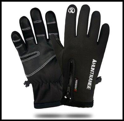 Перчатки водонепроницаемые черные Qifandi код 110 унисекс ветрозащитные и теплые флисовые светоотраж