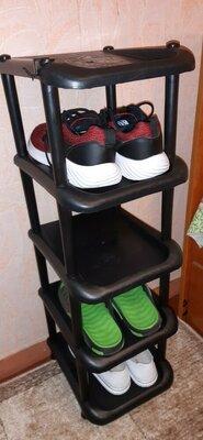 Узкая обувная полка на 5 ярусов новая на одну пару обуви пластиковая не дорого