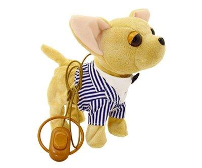 Собачка на поводке CL1352 В полосатой рубашке Поющий щенок