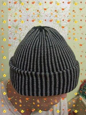 Продано: мужская шапка вязаная с отворотом. шапочка чоловіча подростковая на мальчика новая шерсть в полоску