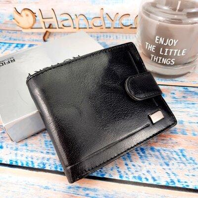 Мужское кожаное портмоне на кнопке черное Rovicky CPR-022 Black
