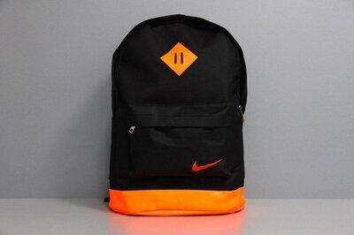 Рюкзак городской мужской, женский, для ноутбука Nike Найк черный-оранжевый