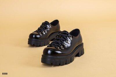 Код 5558 Женские туфли на шнуровке Размеры 36-41 Сезон деми Материал верха кожа наплак Внутри к