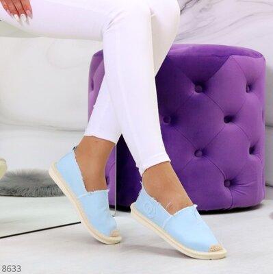 Женские джинсовые белые пудровые белые чёрные голубые слипоны эспадрильи мокасины