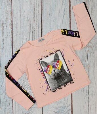 Детская укороченная хлопковая кофта топ для девочки tik tok 8-12 лет пудра