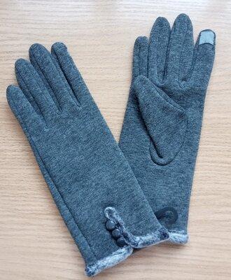 Теплые трикотажные перчатки рукавички М/l 23 х 8,5 см. серые