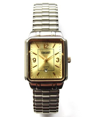 Consort мужские часы из Сша с датой браслет Twist-O-Flex мех. Japan