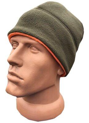 Тепла двостороння флісова шапка Hunter Olive | Orange