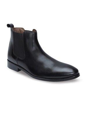 ZARA 100 % Кожаные Модельные стильные ботинки туфли челси черные Португалия