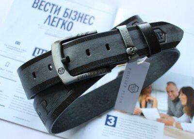 Мужской кожаный ремень для джинсов Philipp Plein черно-серый