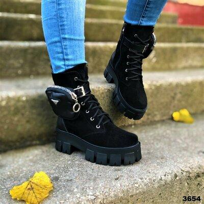Скидка Ботинки Женские черные натуральная кожа