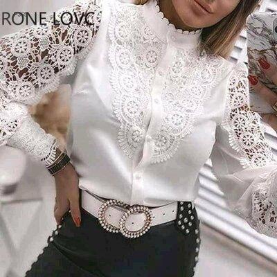 Женская блуза-рубашка на пуговках со стойкой класика очень красивая 40-70 белая черная красная Хит