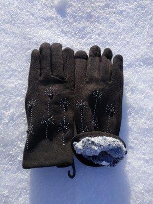 Перчатки теплые с мехом черные женские трикотажные с бусинками