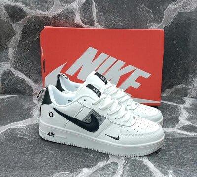 Мужские Кроссовки Nike Air Force кожаные, белые , весенние