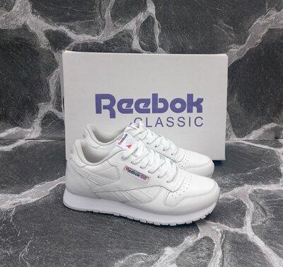 Женские Кроссовки Reebok Classic White белые, кожаные, весенние