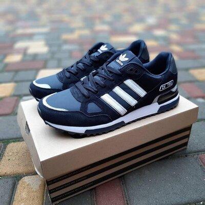 Мужские Кроссовки Adidas ZX 750 замшевые,черные,синие