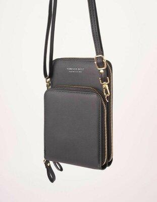 Продано: Черная сумка маленькая под телефон из экокожи