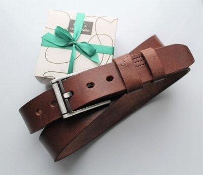 Мужской кожаный ремень Morse коричневый