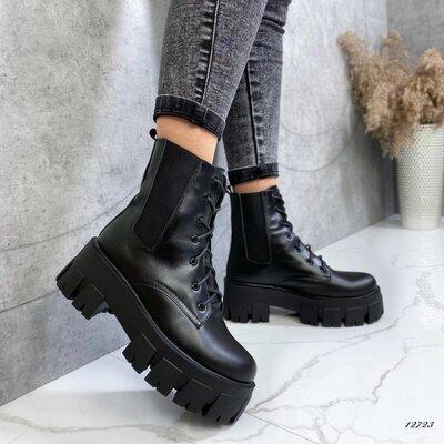 Кожаные женские ботинки демисезонные, женские ботинки prada monolith, черевики 39,40р код 12723