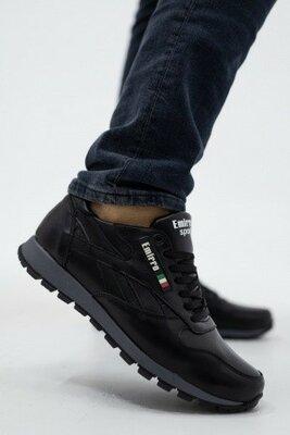 Мужские кроссовки кожаные весна/осень черные Lions R16 Emirro Black