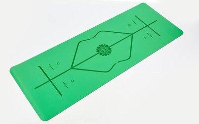 Коврик для фитнеса и йоги двухслойный с разметкой 8307-1 размер 1,83х0,68м толщина 5мм