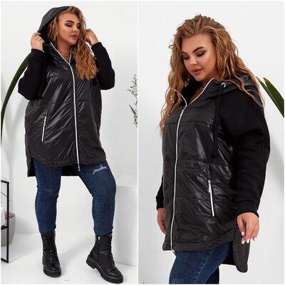 Куртка комбинированная -с капюшоном. Хит продаж. Женская куртка.