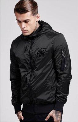 Мужская куртка ветровка черная мужской бомбер SikSilk Bomber Black