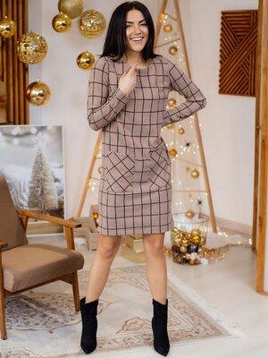 Удобное клетчатое платье с карманами В 3160 5 цветов
