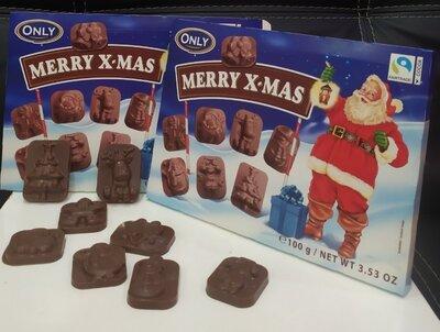 Шоколадные новогодние конфеты фигурки Merry X-Mas Only 100г Польша