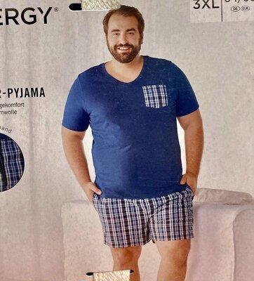 Мужская пижама с шортами, домашний костюм livergy германия, батал, большой размер