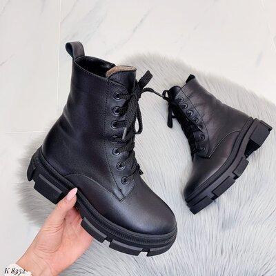 Код 8352 Ботинки ЗИМА - 80 % Шерсть 20 % Эко Мех . Материал Нат Кожа . Цвет Черный. Каблук 5,5