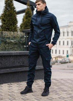 Мужской удобный демисезонный костюм синего цвета intruder softshell