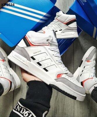 Как оригинал. Кроссовки мужские Adidas Drop Step Hight серо/белые KS 1624