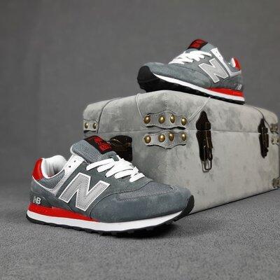 Кроссовки мужские New Balance 574, серые с красным