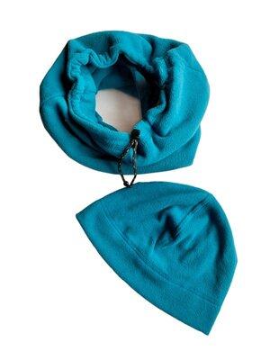 Продано: Мужской бирюзовый комплект шапка снуд флис, c&a.