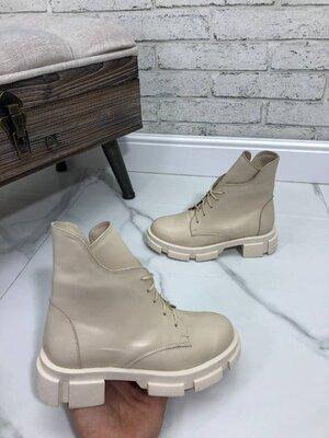 Демисезонные ботинки, натуральная кожа и замш, 36-41, цвет беж, серый, черный