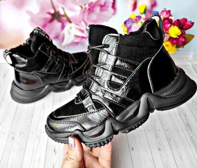 Деми ботинки р-р 33-37 черные,тм kimbo-o