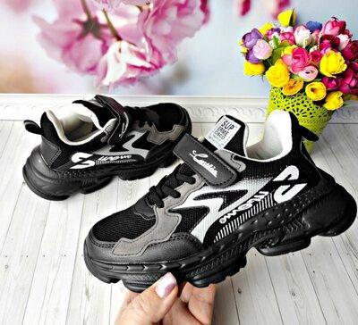 Кроссовки с сеточкой р-р 32-37 черные фирма kimbo-o