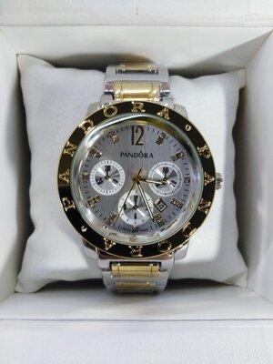 Часы женские наручные Pandora Пандора серебро/желтое золото три циферблата