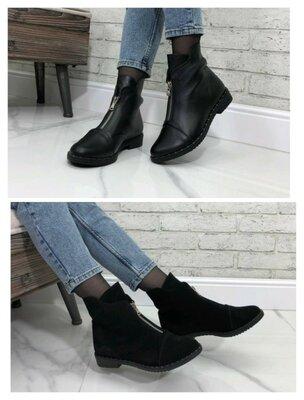 Ботинки демисезонные женские ботильоны натуральная кожа замш каблук черные беж хаки пудра серебро