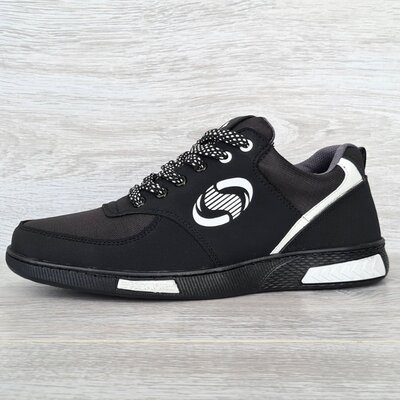 Продано: Кроссовки мужские черного цвета с белыми вставками Сгк-321